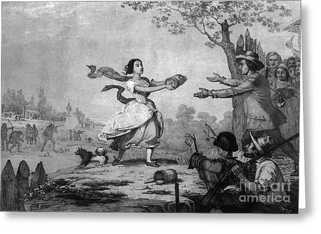 The Heroism Of Miss Elizabeth Zane, 1782 Greeting Card by Photo Researchers