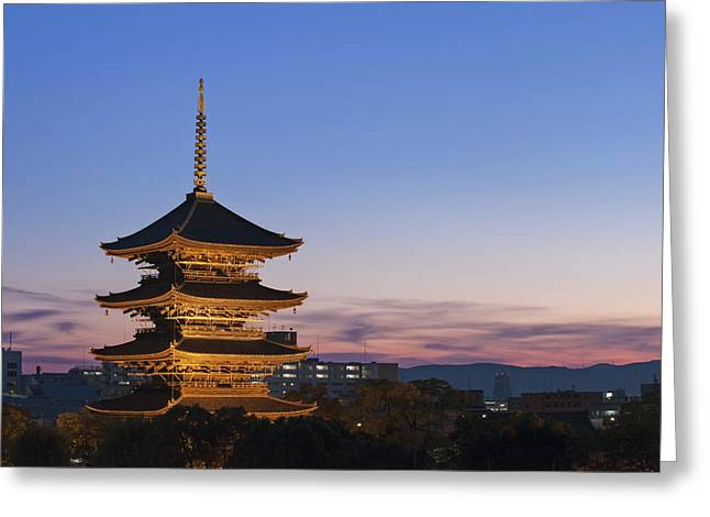 Kyoto Greeting Cards - The Historic To-ji Temple Pagoda Greeting Card by Rob Tilley