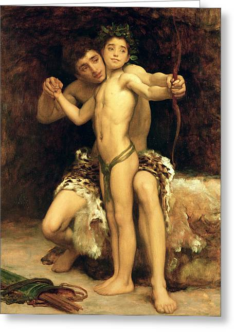 Bow Greeting Cards - The Hit Greeting Card by Frederic Leighton