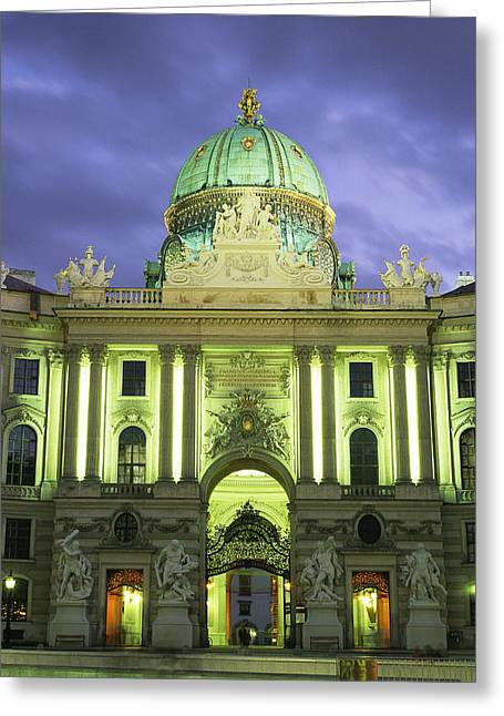Geodesic Dome Greeting Cards - The Hofburg gate in the Greeting Card by Taylor S. Kennedy