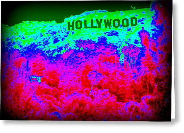 Hugh Hefner Greeting Cards - The Hollywood Sign Greeting Card by Don Struke
