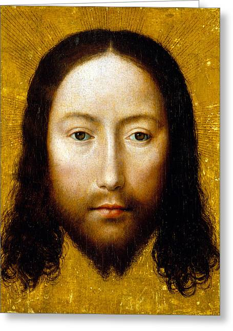 Devotional Greeting Cards - The Holy Face Greeting Card by Flemish School