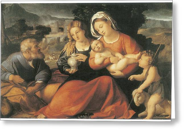 The Holy Family And Mary Magdalene Greeting Card by Palma The Elder
