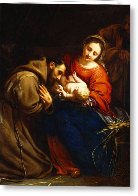 Virgin Paintings Greeting Cards - The Holy Family with Saint Francis Greeting Card by Jacob van Oost