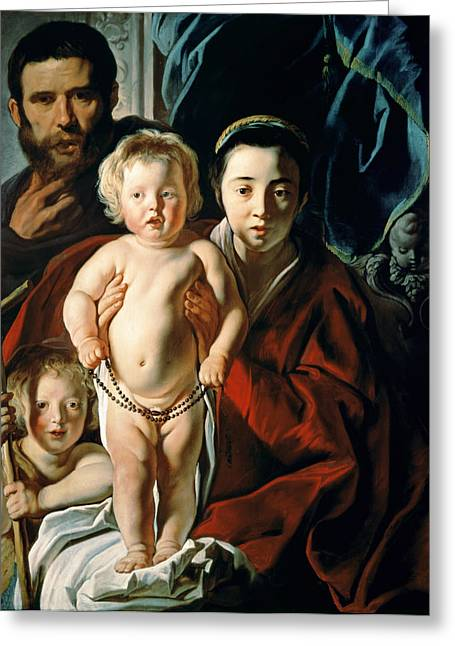 Baptism Greeting Cards - The Holy Family with St. John the Baptist Greeting Card by Jacob Jordaens