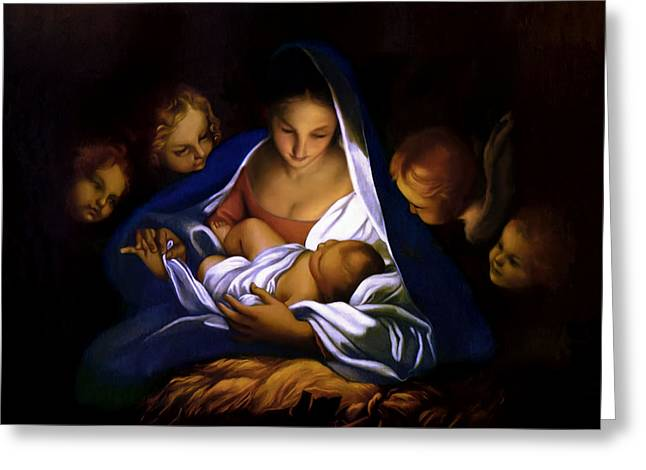 Best Sellers -  - Christ Child Greeting Cards - The Holy Night Greeting Card by Carlo Maratta