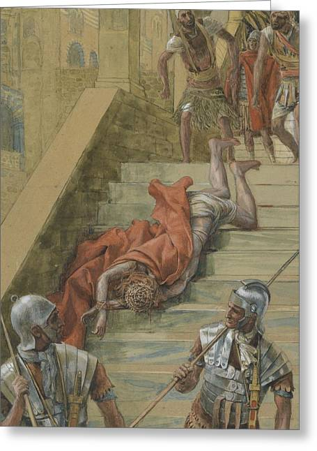Jerusalem Paintings Greeting Cards - The Holy Stair Greeting Card by Tissot