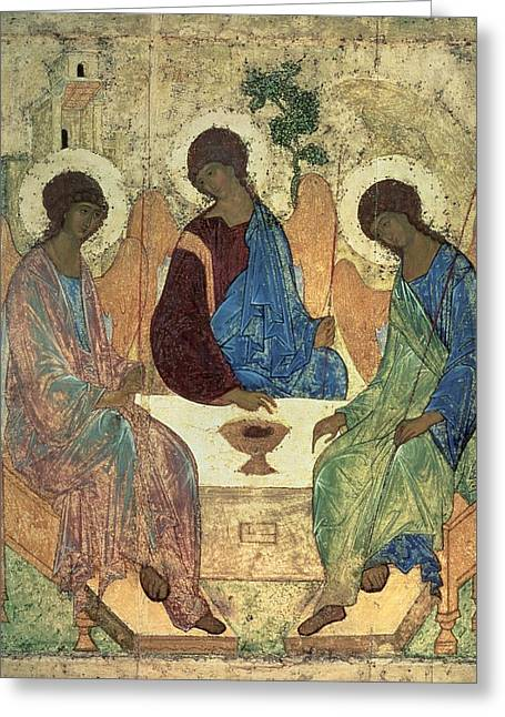 Icon Greeting Cards - The Holy Trinity Greeting Card by Andrei Rublev
