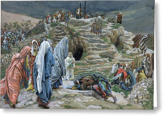 Tissot Greeting Cards - The Holy Women Stand Far Off Beholding What is Done Greeting Card by James Jacques Joseph Tissot
