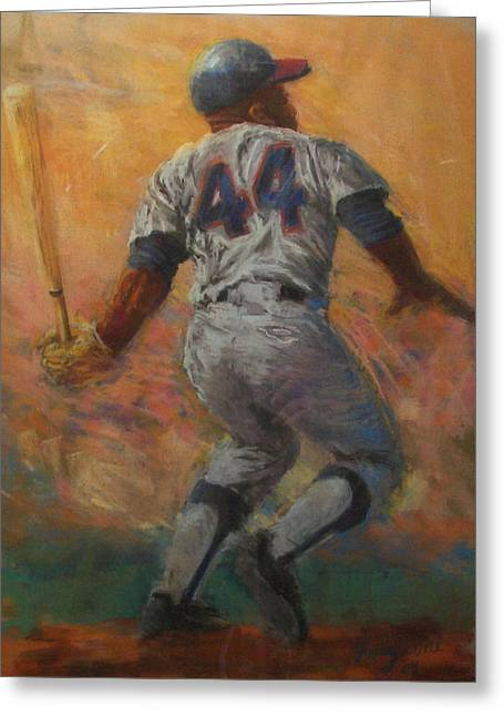 Hank Aaron Greeting Cards - The Homerun King Greeting Card by Tom Forgione