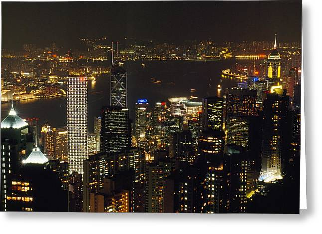 The Hong Kong Skyline Seen Greeting Card by Justin Guariglia