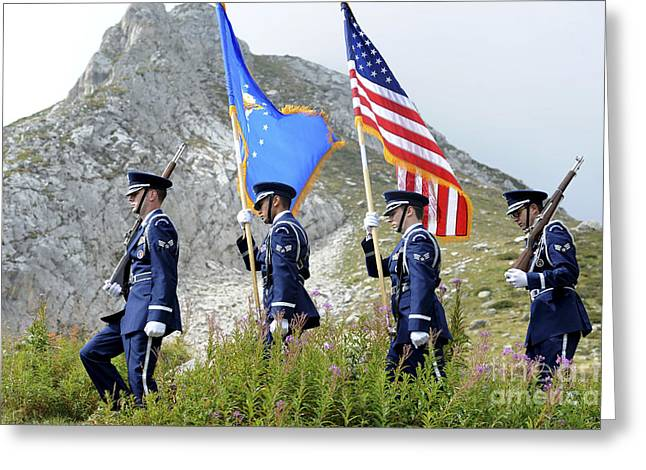 Well-dressed Greeting Cards - The Honor Guard Posts The Colors Greeting Card by Stocktrek Images