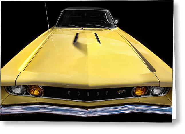 Dodge Coronet Super Bee Greeting Cards - The Hood Goes On Forever Greeting Card by Gordon Dean II