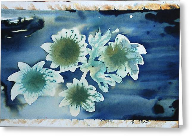 the hopes and dreams of a blossom on a lake Greeting Card by Amy Bernays
