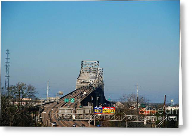 Horace Greeting Cards - The Horace Wilkinson Bridge over the Mississippi River in Baton Rouge LA Greeting Card by Susanne Van Hulst