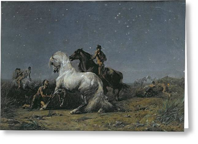 Constellation Paintings Greeting Cards - The Horse Thieves Greeting Card by Ferdinand Victor Eugene Delacroix