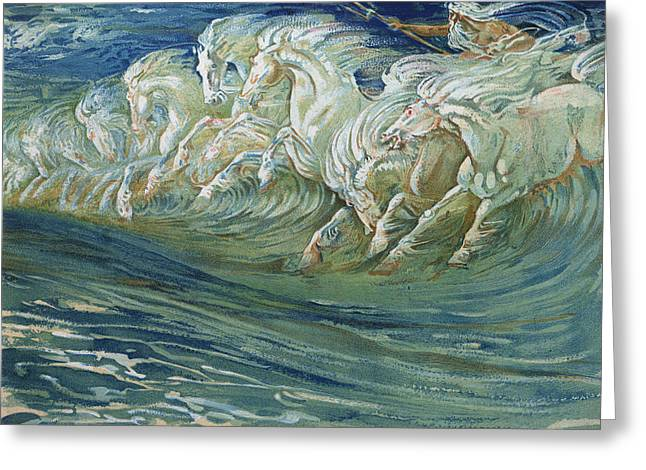 Wild Horse Greeting Cards - The Horses of Neptune Greeting Card by Walter Crane