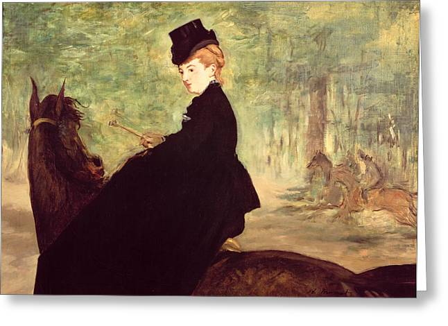 The Horse Greeting Cards - The Horsewoman Greeting Card by Edouard Manet
