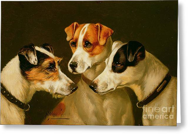 The Hounds Greeting Card by Alfred Wheeler