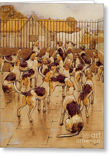 Enclosed Greeting Cards - The Hounds began suddenly to howl in chorus  Greeting Card by Cecil Charles Windsor Aldin