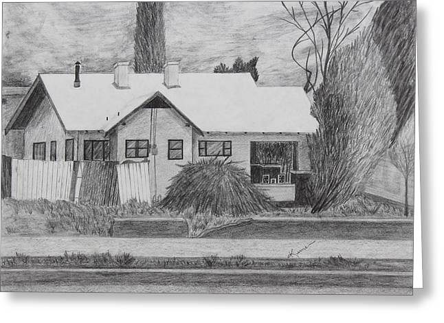 Rooftops Drawings Greeting Cards - The House Across Greeting Card by Kume Bryant
