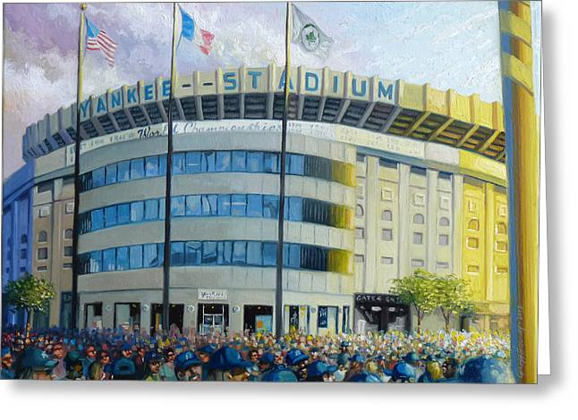Baseball Stadiums Paintings Greeting Cards - The House That Steinbrenner Wrecked Opening Day  Greeting Card by Gregg Hinlicky