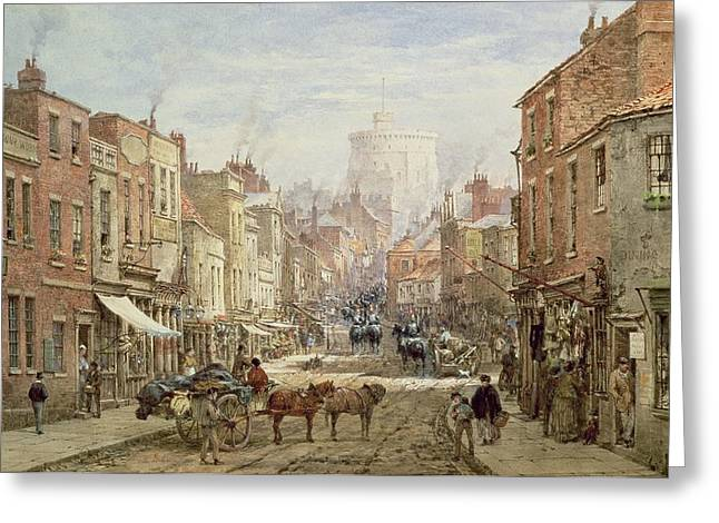 The Front Greeting Cards - The Household Cavalry in Peascod Street Windsor Greeting Card by Louise J Rayner