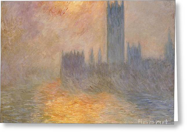 The Houses Greeting Cards - The Houses of Parliament at Sunset Greeting Card by Claude Monet