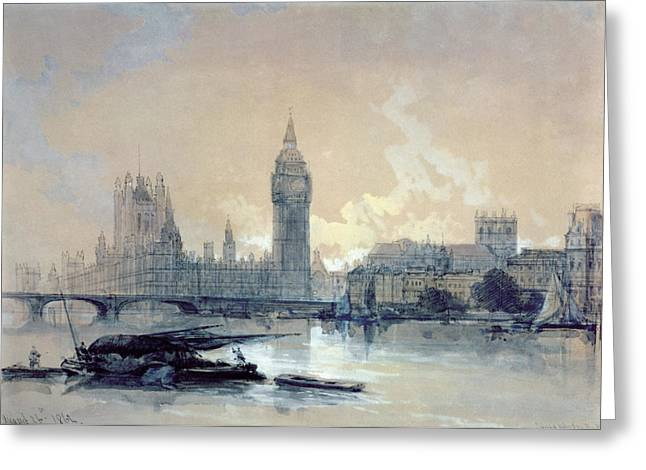 Clock Paintings Greeting Cards - The Houses of Parliament Greeting Card by David Roberts