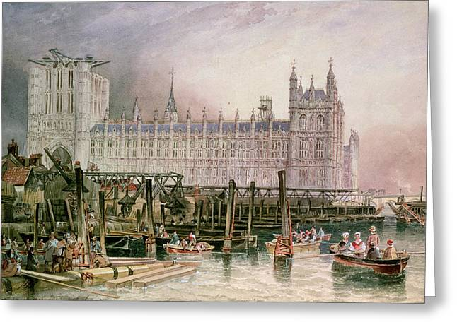 The Houses of Parliament in Course of Erection Greeting Card by John Wilson Carmichael