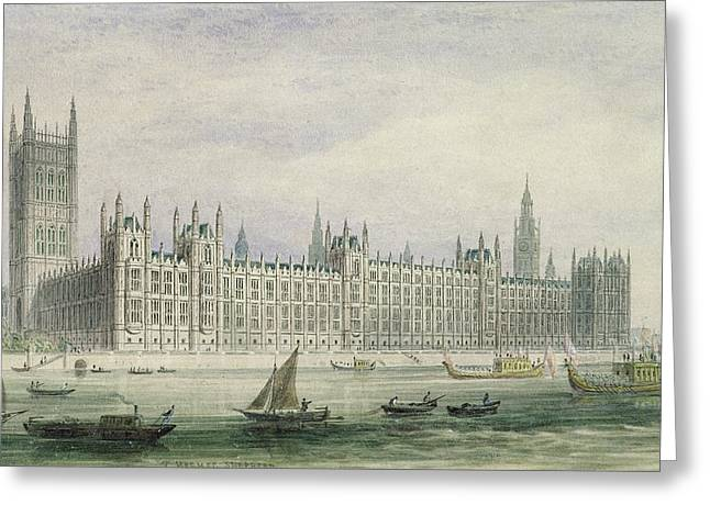 Graphite Photographs Greeting Cards - The Houses of Parliament Greeting Card by Thomas Hosmer Shepherd