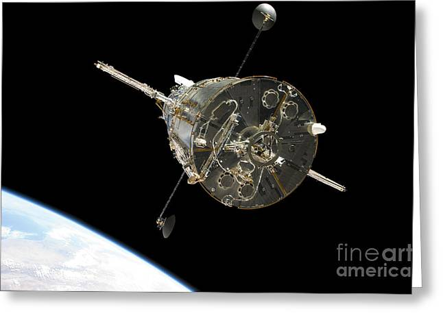 Hubble Space Telescope Views Greeting Cards - The Hubble Space Telescope In Orbit Greeting Card by Stocktrek Images