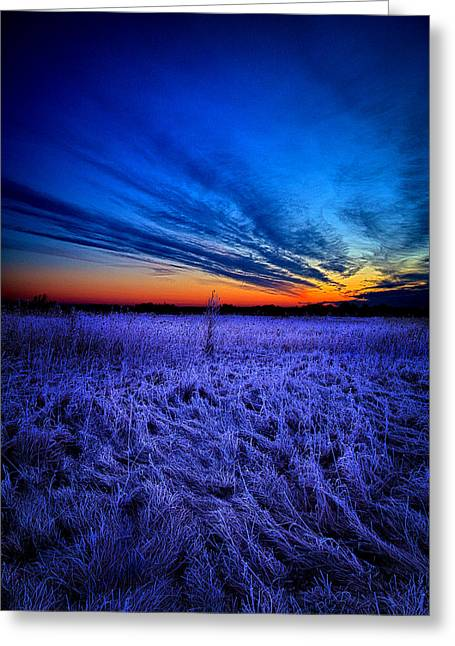 Geographic Greeting Cards - The Hue of Blue Greeting Card by Phil Koch