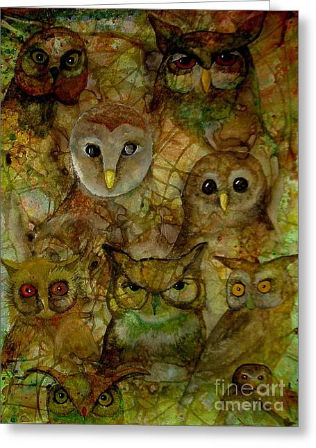 Unique Owl Greeting Cards - The Humble 9 Greeting Card by Amy Sorrell