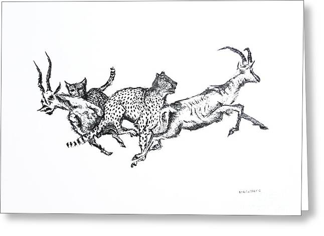 Wild Life Drawings Greeting Cards - The Hunt Pen and Ink Drawing  Greeting Card by Mario  Perez