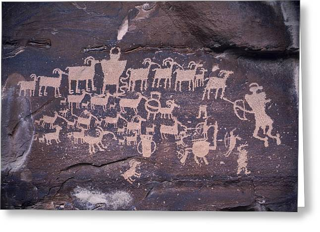 Animal Sculptures Greeting Cards - The Hunt Scene- Ancient Pueblo-anasazi Greeting Card by Ira Block