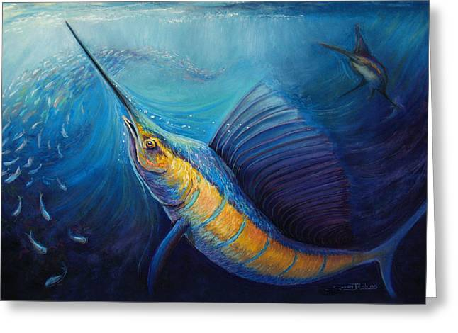Fish Pastels Greeting Cards - The Hunt Greeting Card by Susan Jenkins