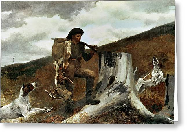 Hound Hounds Greeting Cards - The Hunter and his Dogs Greeting Card by Winslow Homer