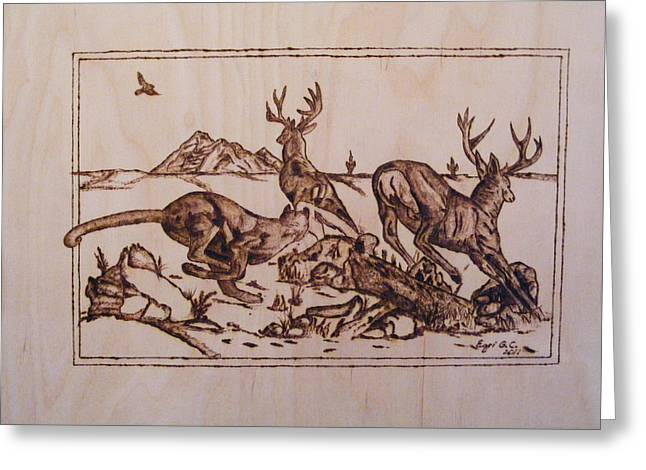 Hunting Pyrography Greeting Cards - The Hunter-Big predators-cougar 1 pyrography study Greeting Card by Egri George-Christian