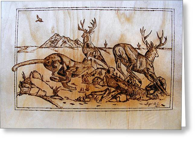 Log Pyrography Greeting Cards - The Hunter -Big predators cougar and deers-pyrography original Greeting Card by Egri George-Christian