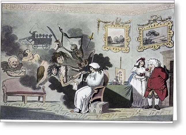 Die Karikatur Und Satire In Der Medizin Greeting Cards - The Hypochondriac, Satirical Artwork Greeting Card by