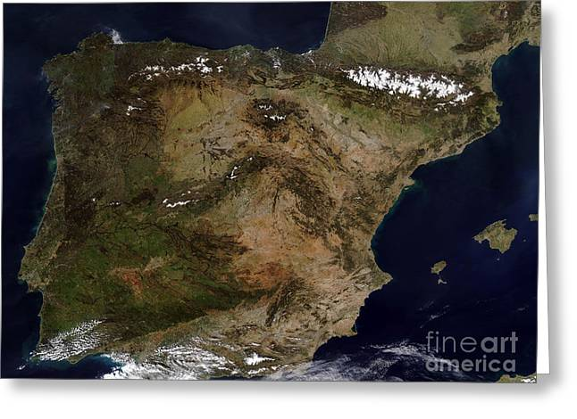 True Colors Greeting Cards - The Iberian Peninsula Greeting Card by Stocktrek Images