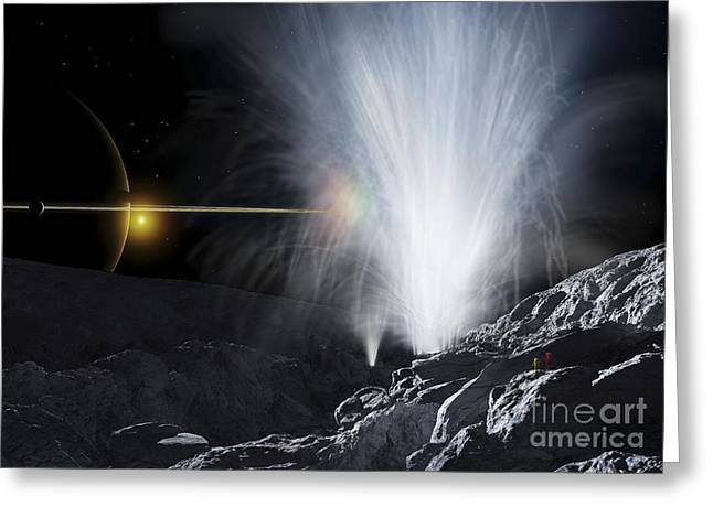 Adults Only Digital Art Greeting Cards - The Ice Fountains Of Enceladus Greeting Card by Ron Miller