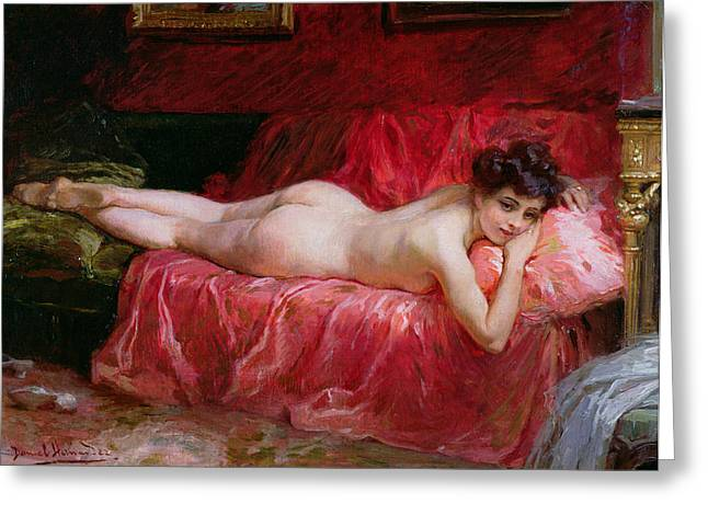 Odalisque Greeting Cards - The Idle Hour Greeting Card by Daniel Hernandez