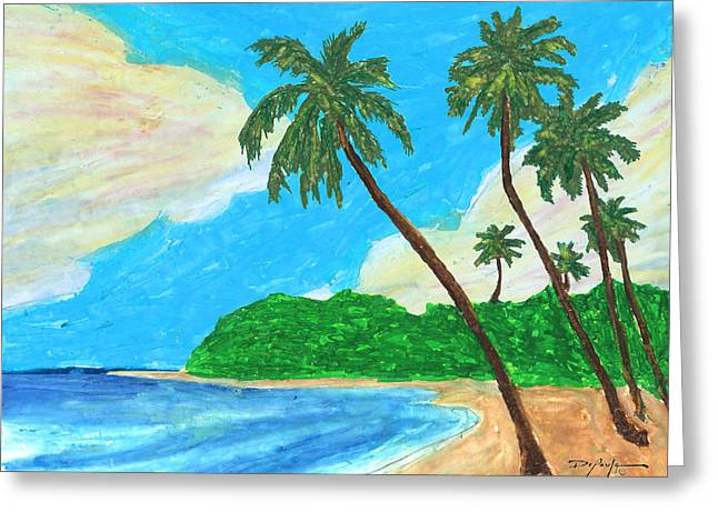 Island Artist Pastels Greeting Cards - The Idyllic Beach Greeting Card by William Depaula