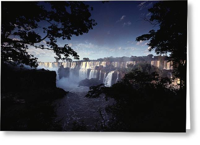National Boundaries Greeting Cards - The Iguacu River Tumbles Greeting Card by James P. Blair