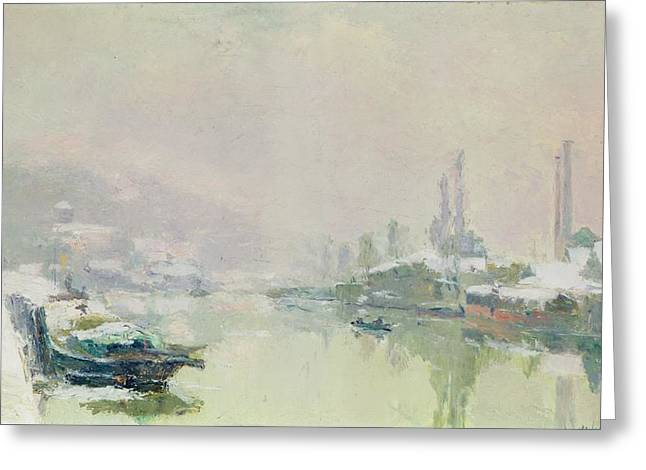 Snow Scene Landscape Paintings Greeting Cards - The Ile Lacroix under Snow Greeting Card by Albert Charles Lebourg