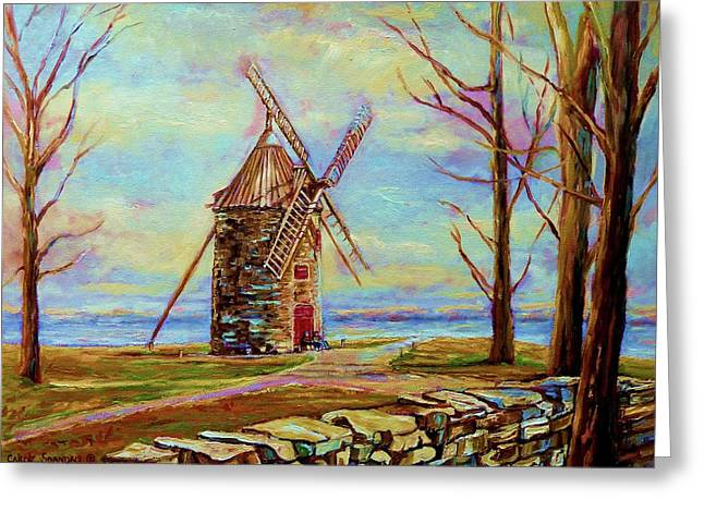 Charming Vistas Greeting Cards - The Ile Perrot Windmill Moulin Ile Perrot Quebec Greeting Card by Carole Spandau