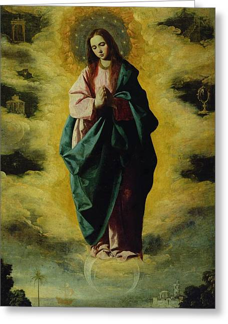 Chastity Greeting Cards - The Immaculate Conception Greeting Card by Francisco de Zurbaran