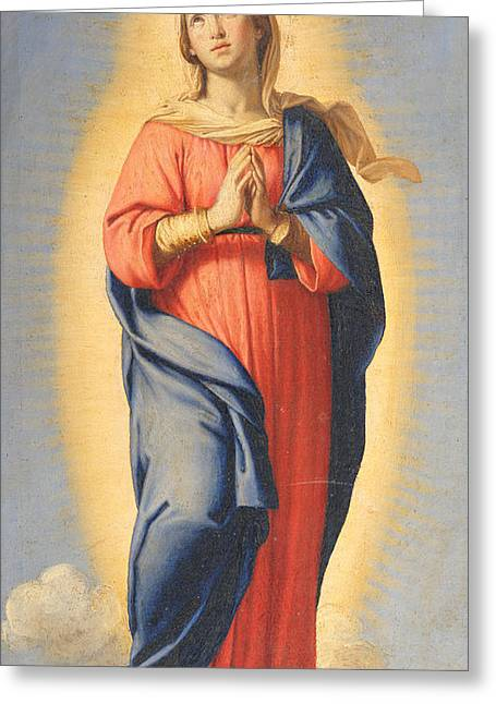 Religious Paintings Greeting Cards - The Immaculate Conception Greeting Card by Il Sassoferrato